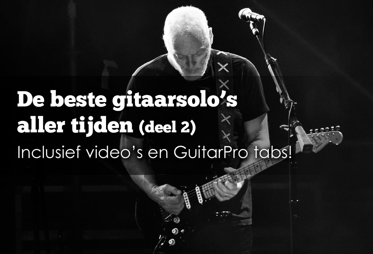 tabs van de beste gitaarsolos van o.a. Pink Floyd, Ozzy en Jimi Hendrixy inclusief videos